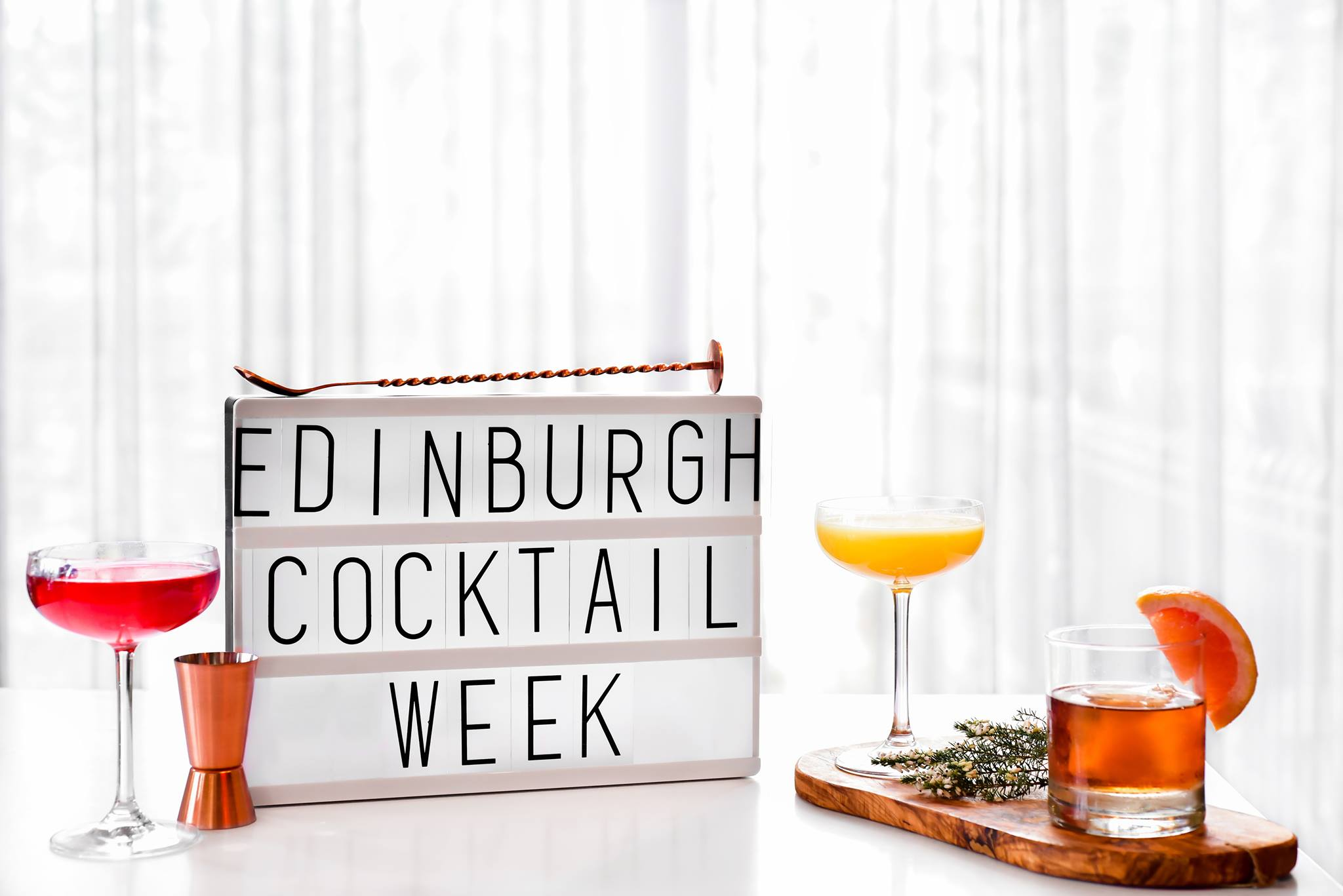 Edinburgh Cocktail week light-box and cocktail