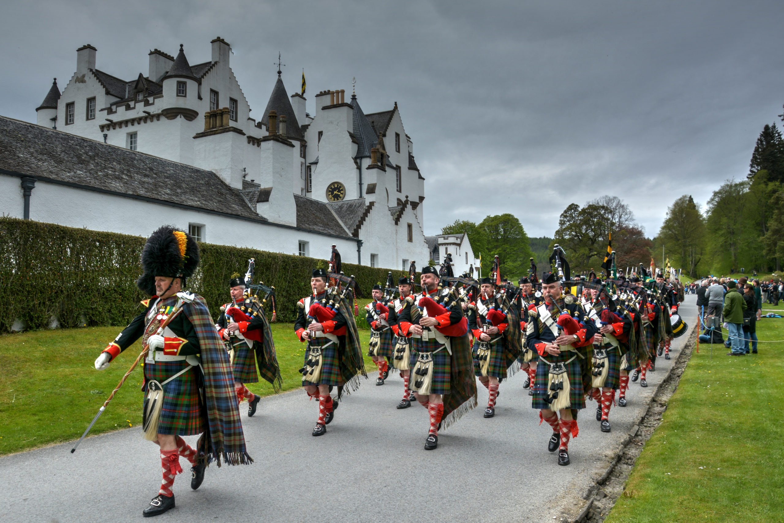 Atholl Highlanders marching in front of Blair Castle.