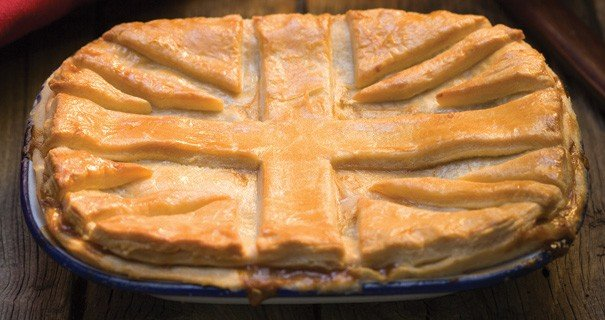 Pie with a Union Jack on the pastry