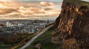 A hill with cliff face overlooking Edinburgh