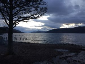 Photo of stormy skies over the Winter Wonderland of Loch Ness looking south towards Fort Augustus.