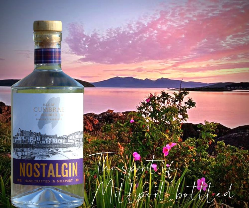 Nostalgin bottle on a scenic backdrop