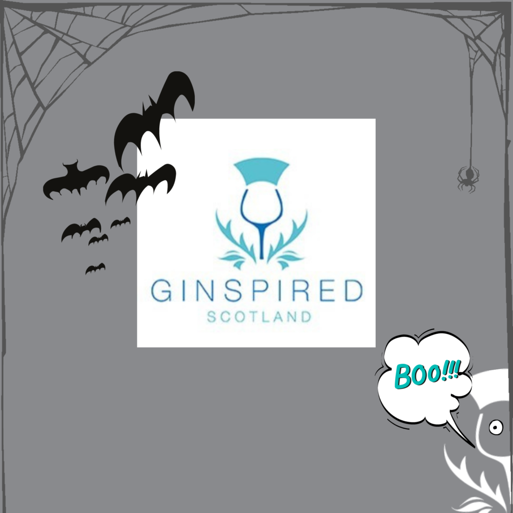 Ginspired Scotland's logo with a Halloween theme bats and spidersweb