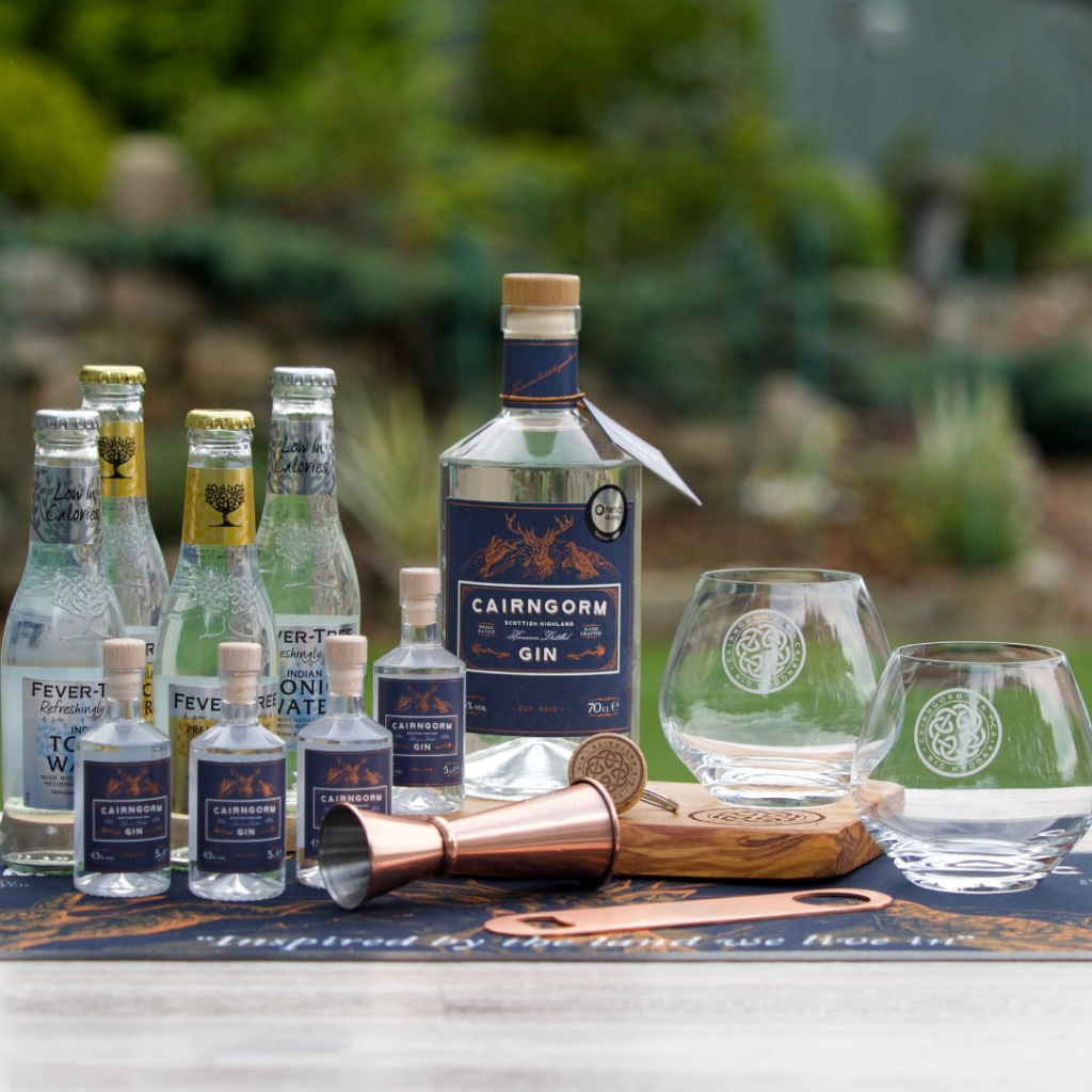 Cairngorn Gin range with miniatures, glasses and barware