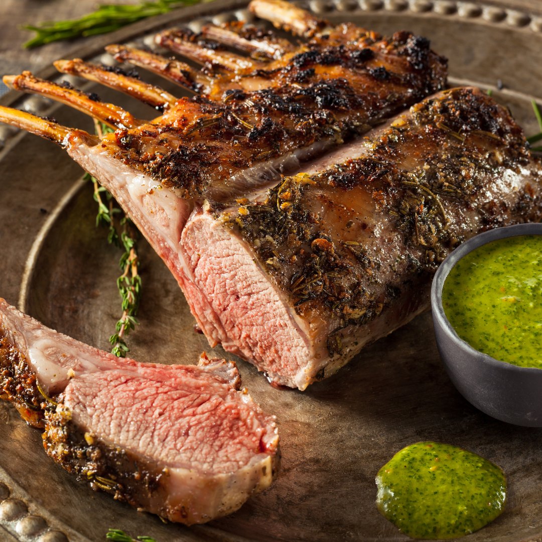 Rack of roast lamb with a mint dressing